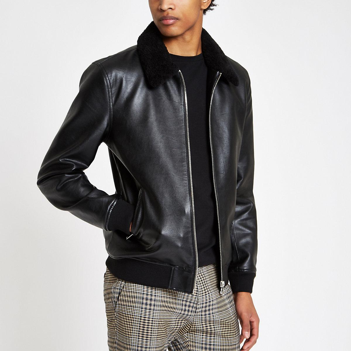 Black fleece collar jacket