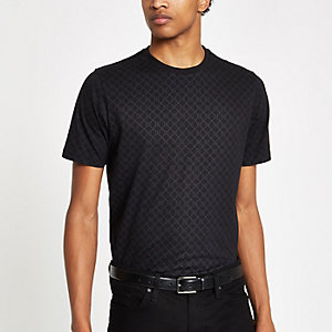 Schwarzes Slim Fit T-Shirt mit RI-Monogrammprint