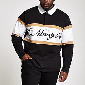 Big & Tall - Zwart R96 rugbyshirt