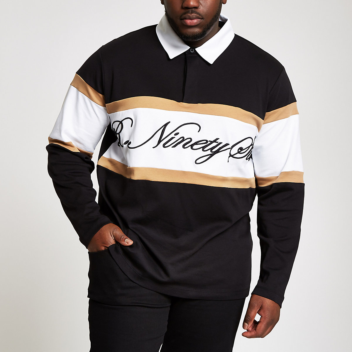 Big and Tall R96 black rugby shirt