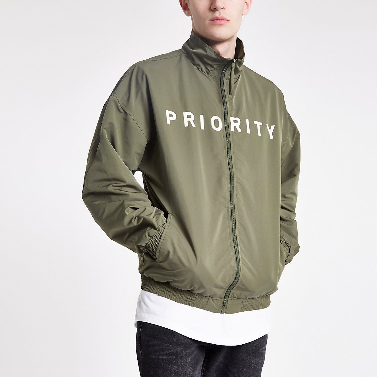 Minimum khaki 'Priority' slogan jacket