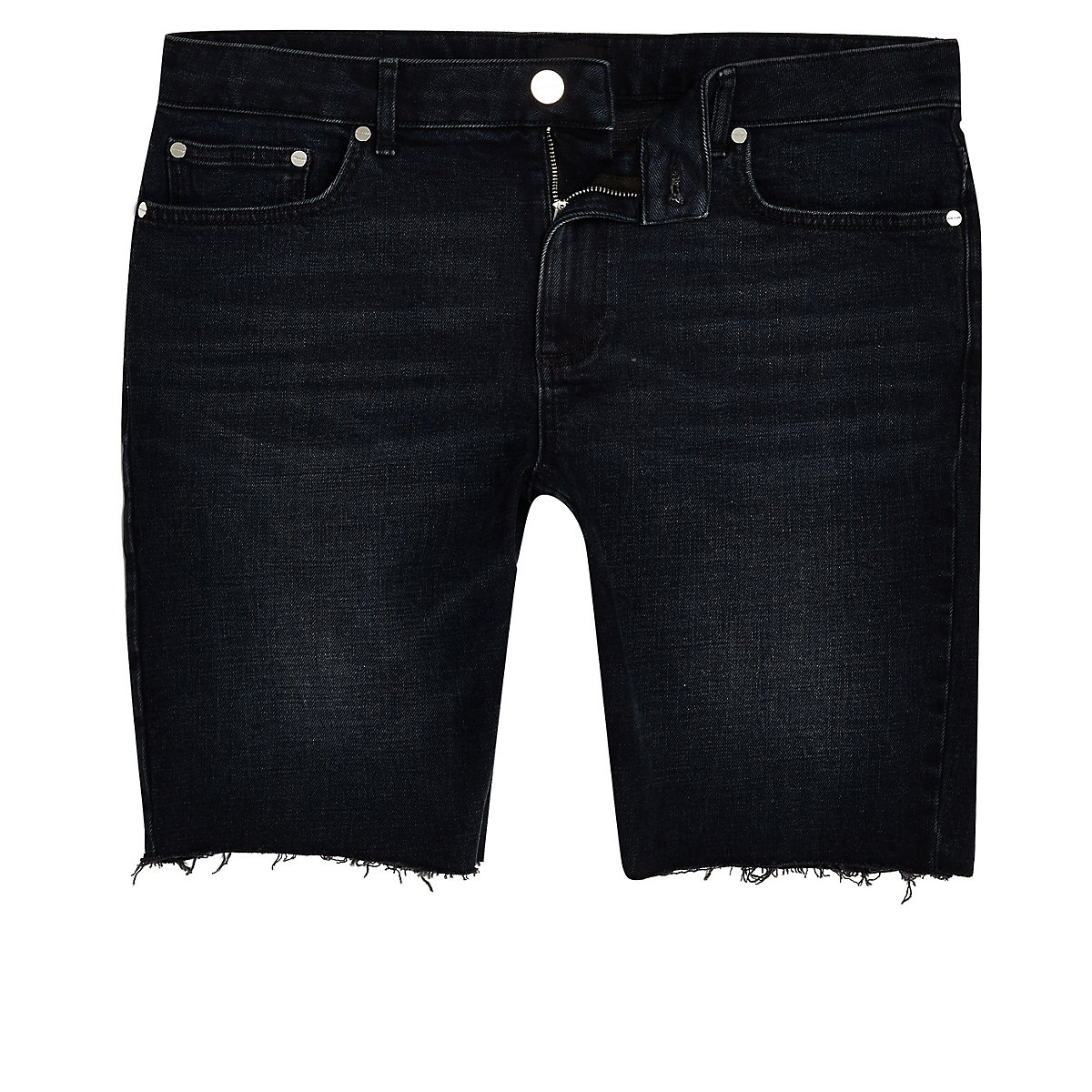 Big and Tall blue black skinny shorts
