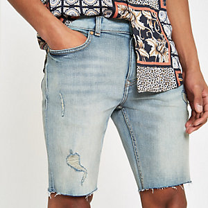 Light blue Sid skinny stretch denim shorts