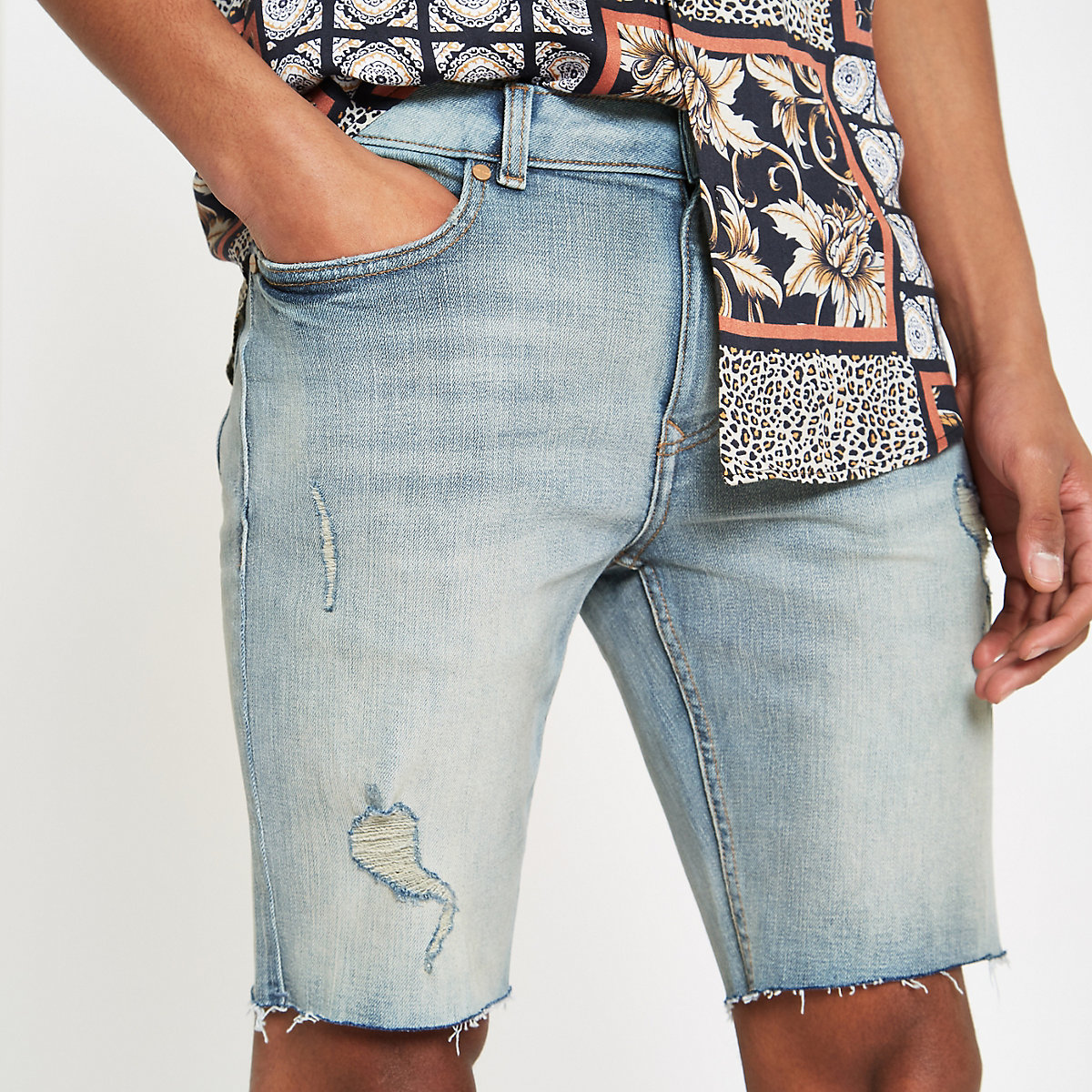 Light blue Sid skinny stretch denim shorts