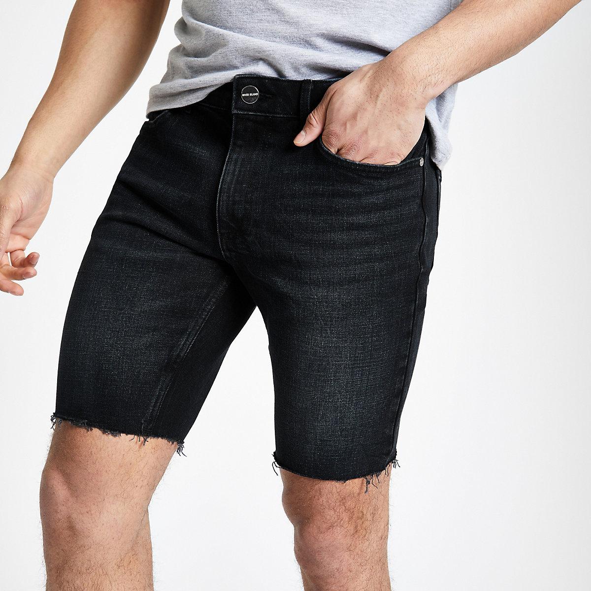 Dark blue skinny fit denim shorts