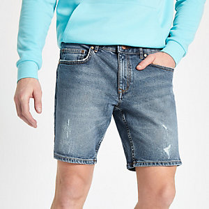 Middenblauwe slim-fit denim short