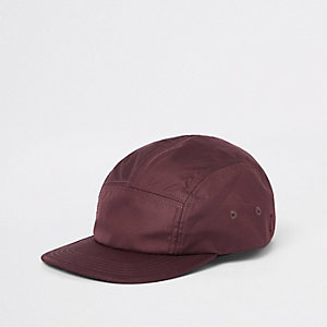 Burgundy panel detail cap