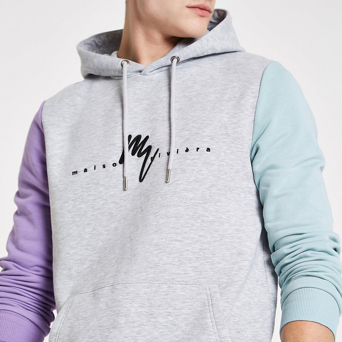Grey 'Maison riviera' slim fit hoodie