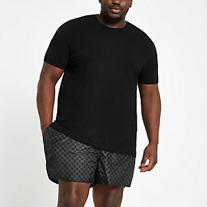 Big and tall black RI monogram swim trunks