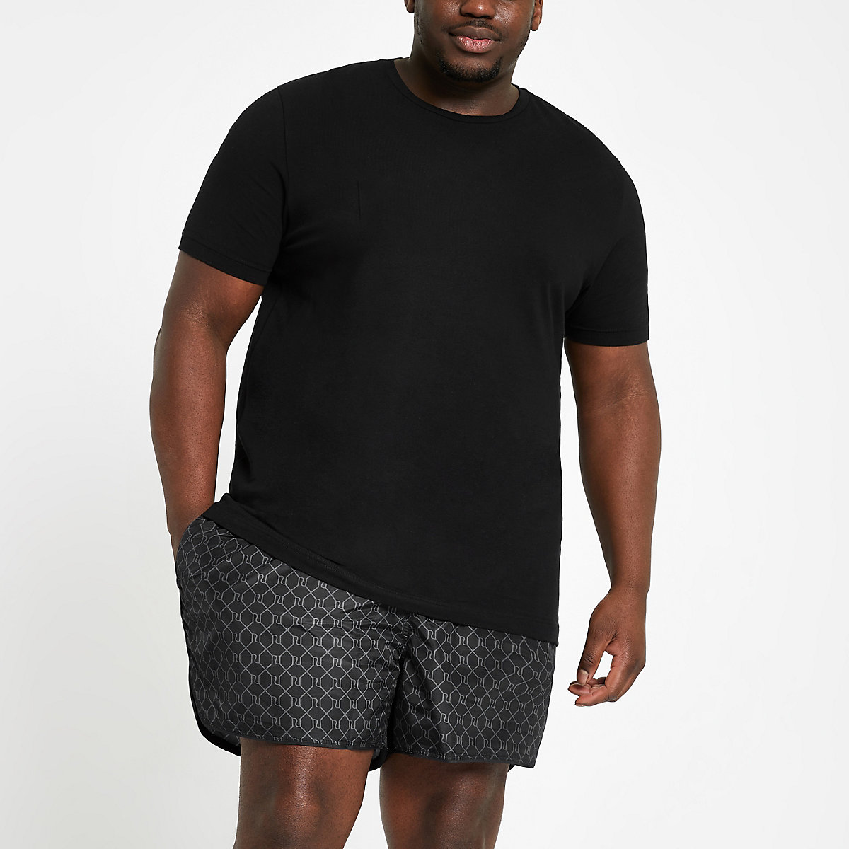 Big and tall black RI monogram swim shorts
