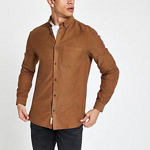 Chemise slim en lyocell marron à poche poitrine