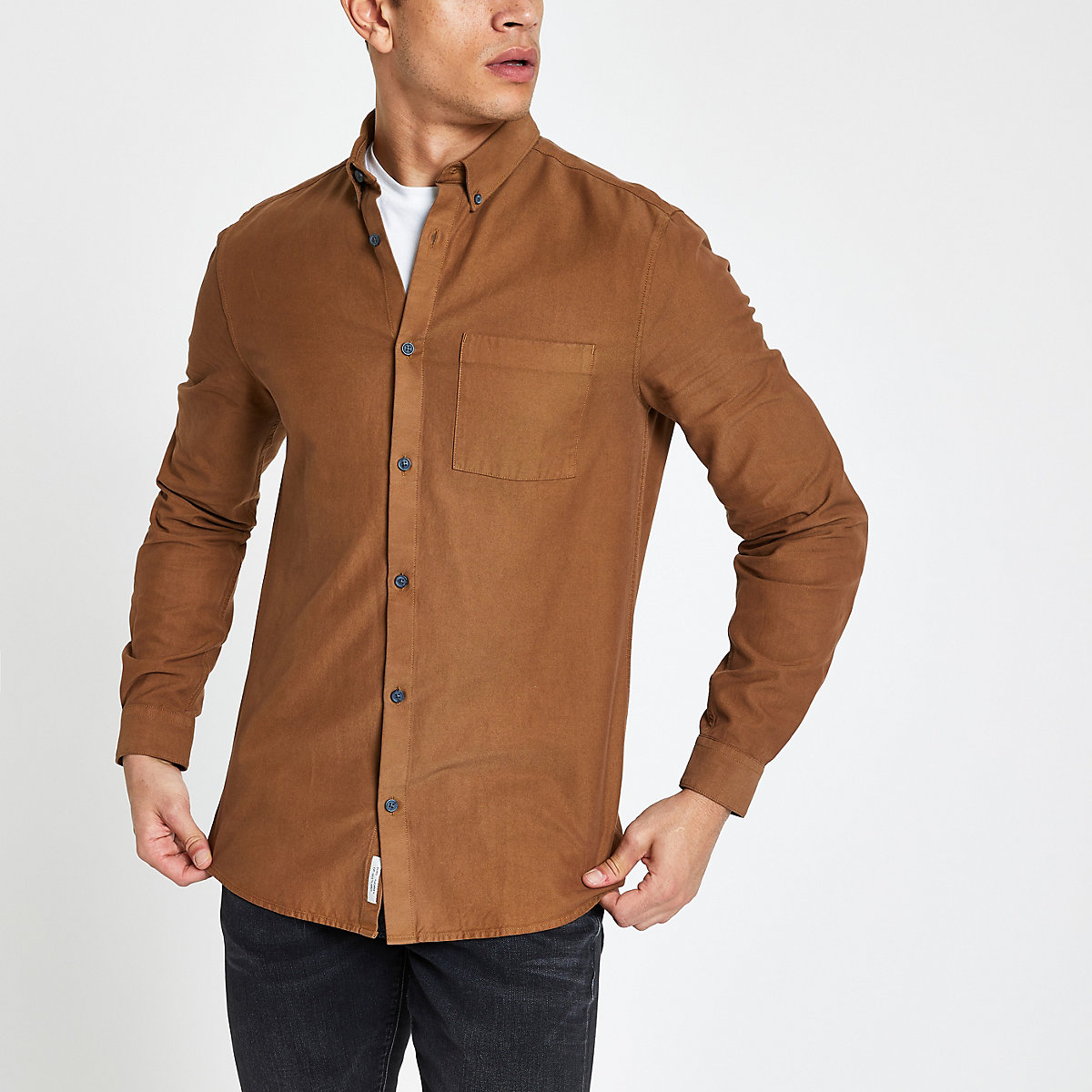 Brown lyocell chest pocket slim fit shirt