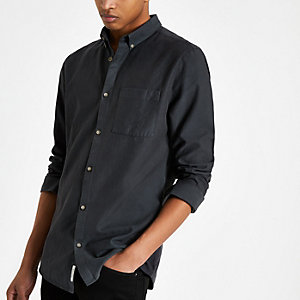 Navy lyocell chest pocket shirt