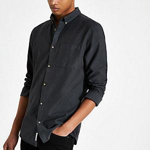 Chemise en lyocell bleu marine à poche poitrine