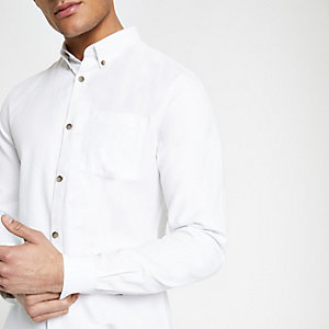 White lyocell chest pocket shirt