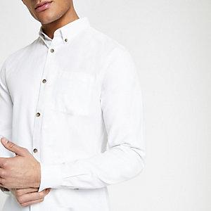 Chemise en lyocell blanche à poche poitrine