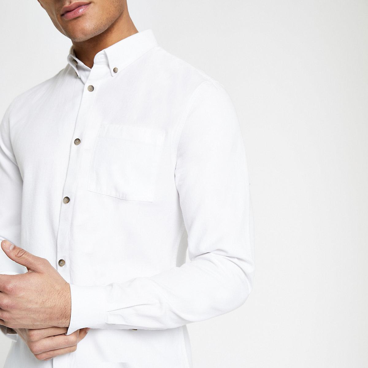 White lyocell chest pocket shirt