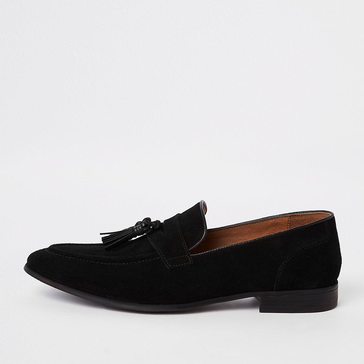 Black suede pointed tassel loafer