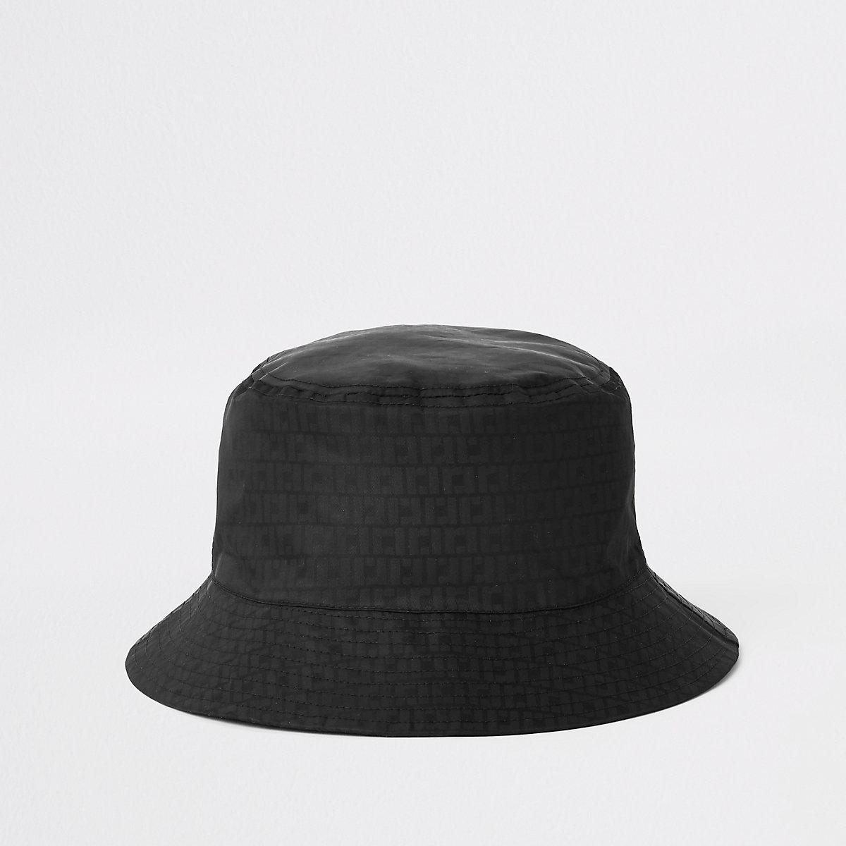 Black RI monogram bucket hat