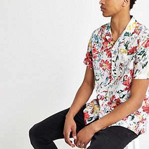 Pepe Jeans red tropical print shirt