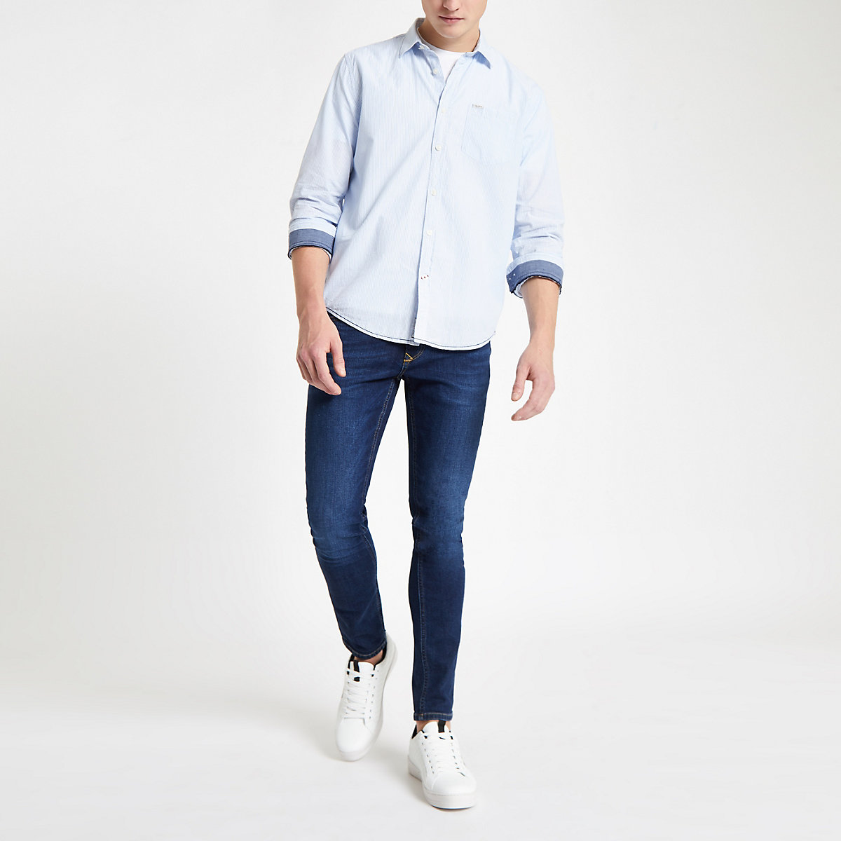 Pepe Jeans blue pinstripe shirt