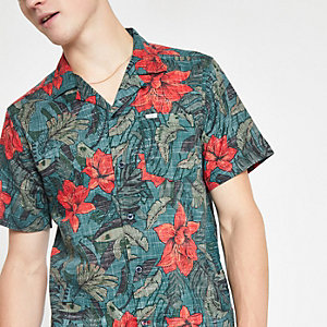 Pepe Jeans – Chemise à fleurs vert foncé