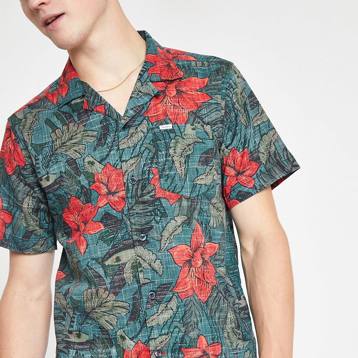 Pepe Jeans dark green floral print shirt