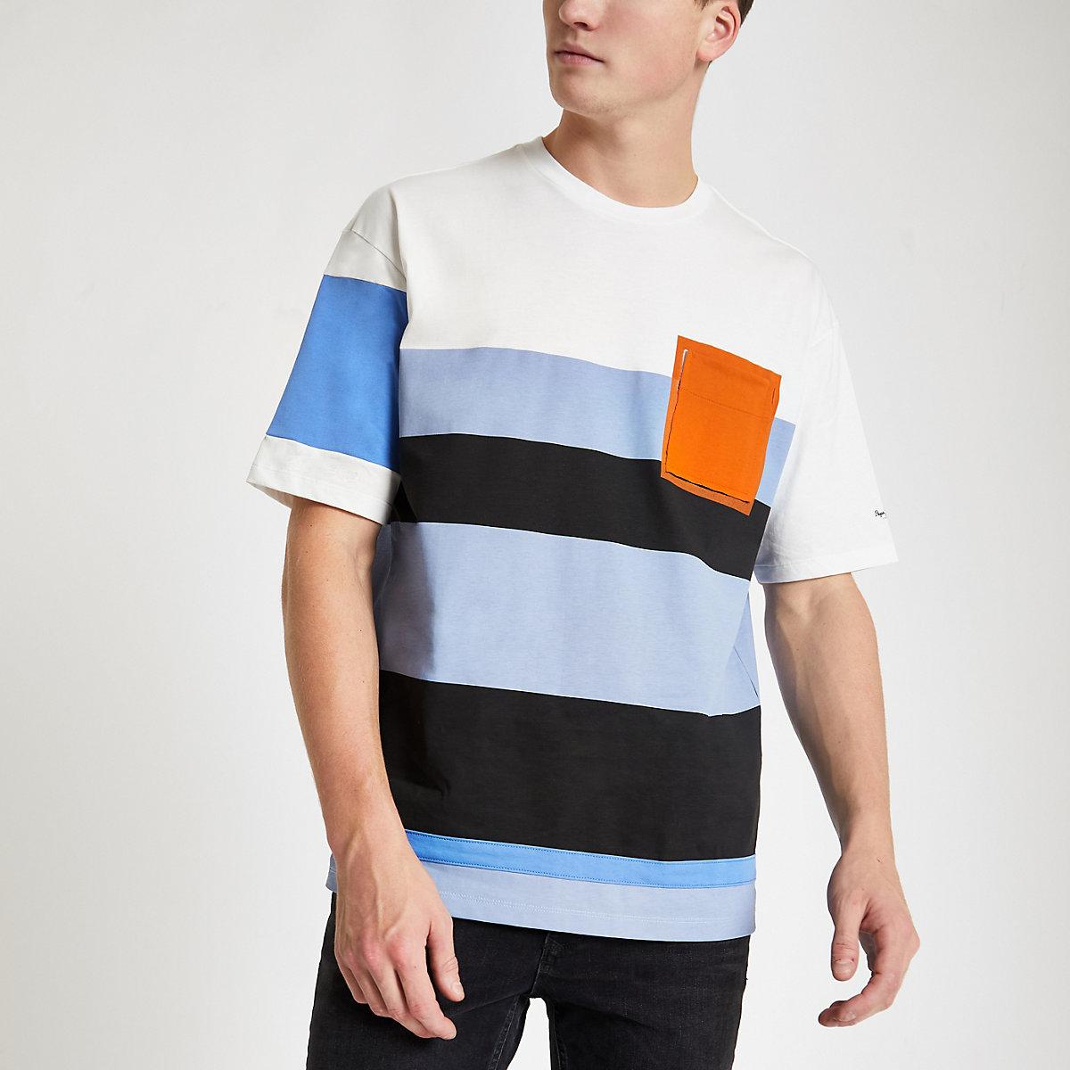 Pepe Jeans blue color block T-shirt