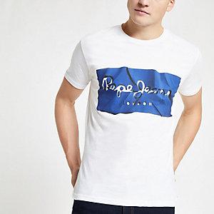 Pepe Jeans – Weißes T-Shirt mit Logoprint