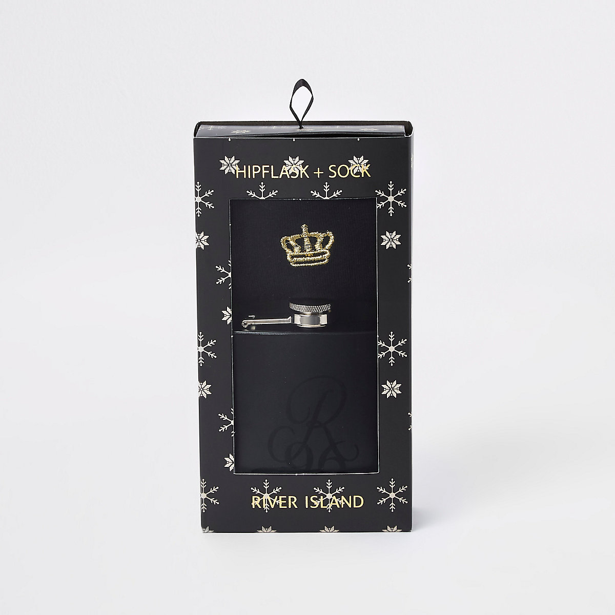 Black 'R96' hip flask and sock set