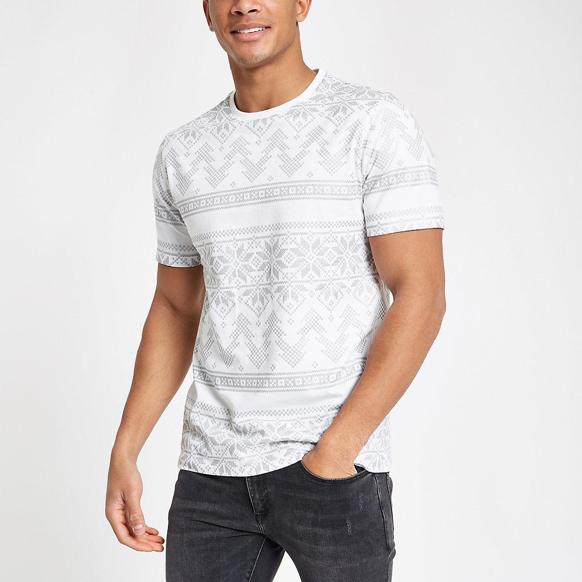 White slim fit Christmas foil print T-shirt