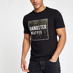 "Schwarzes Slim Fit T-Shirt ""Gangster Wrapper"""