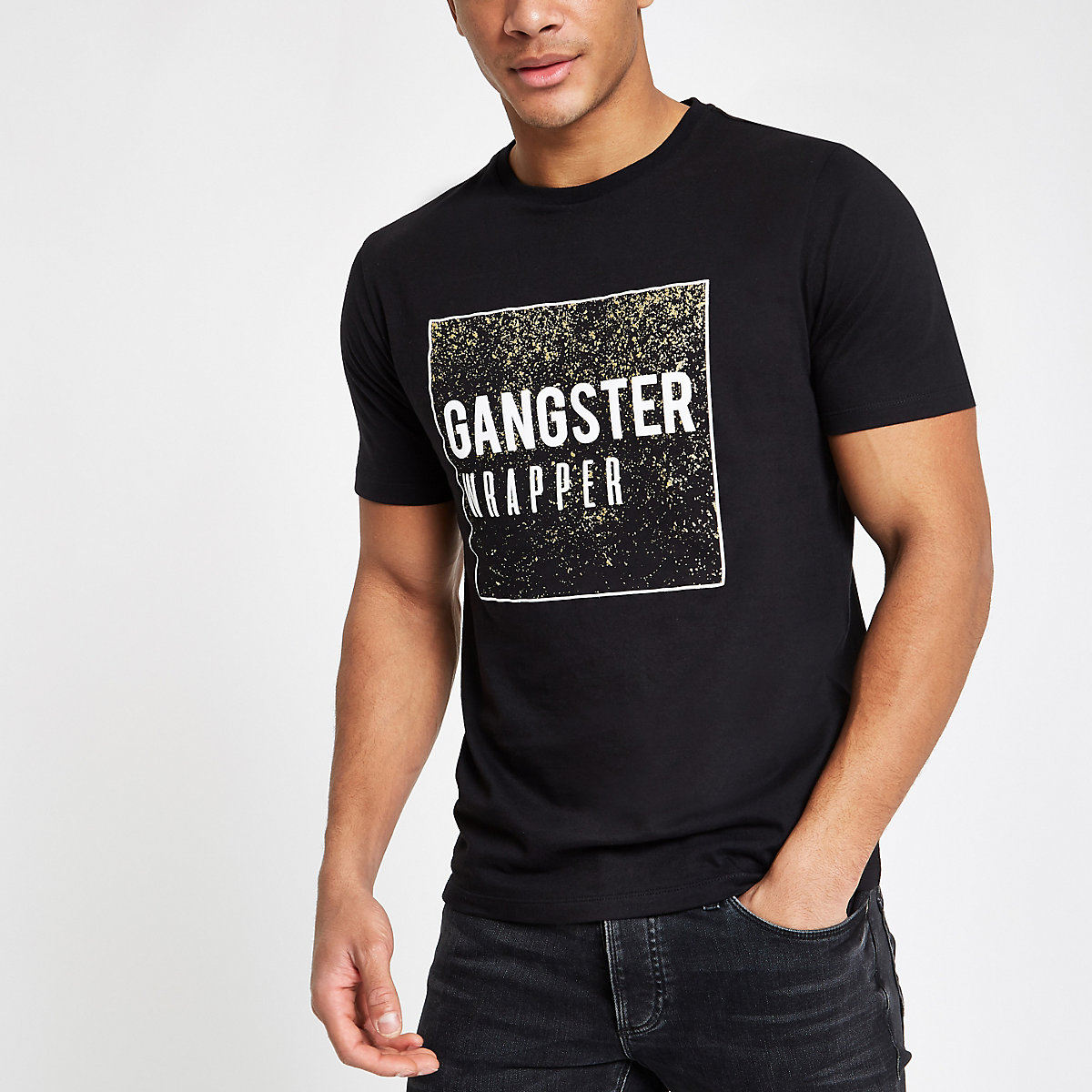 Black slim fit 'gangster wrapper' T-shirt