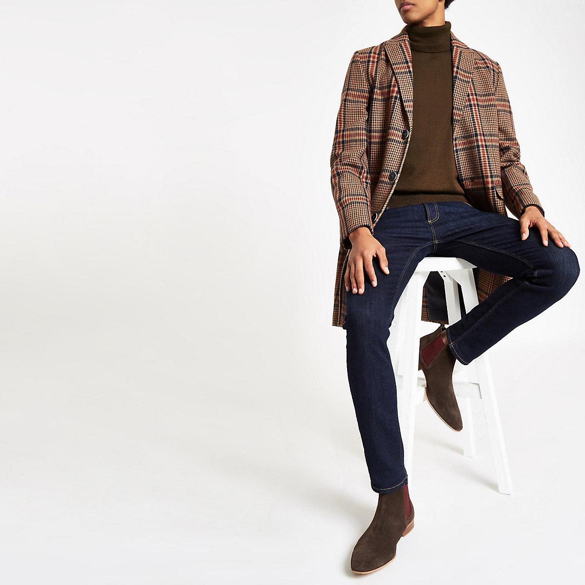 Dark brown slim fit roll neck jumper