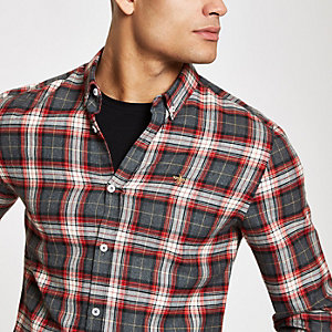 Red check button-down shirt