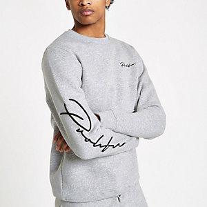 Grijs gemêleerd slim-fit sweatshirt met 'Prolific'-print