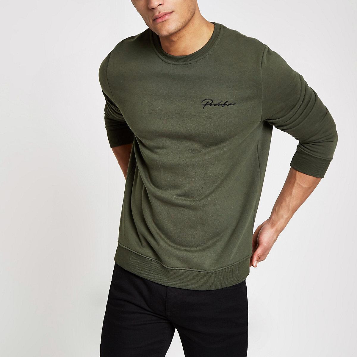 Khaki green 'Prolific' slim fit sweatshirt