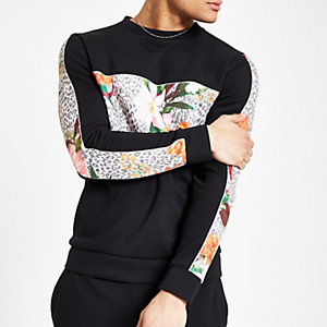 Black slim fit floral blocked sweatshirt