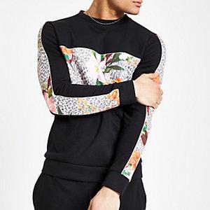 Zwart slim-fit sweatshirt met luipaard- en bloemenprint