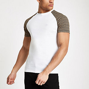 Weißes Muscle Fit T-Shirt mit Monogramm