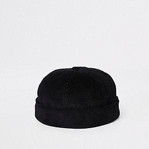 Zwarte corduroy beanie-muts