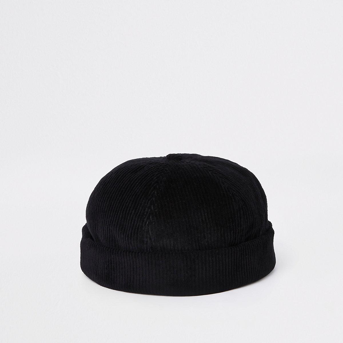 Bonnet en velours côtelé noir style docker