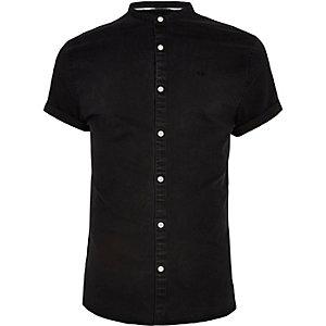 Black grandad collar denim shirt