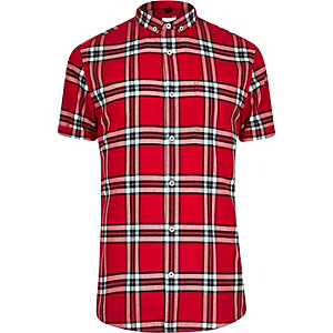 Big and Tall red check short sleeve shirt