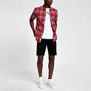 Chemise à carreaux rouge à manches courtes