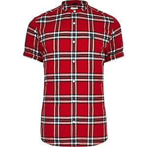 Red check grandad collar slim fit shirt