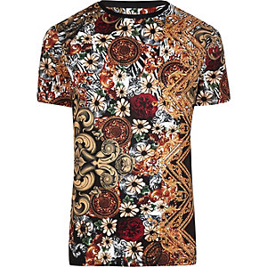 Big and Tall slim fit black baroque T-shirt