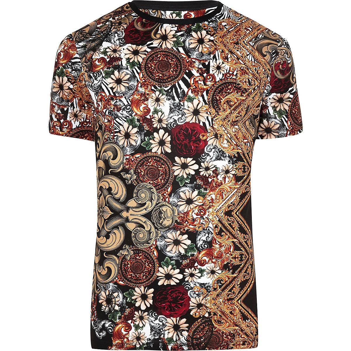 Big and Tall – T-shirt slim motif baroque noir