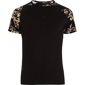 Big and Tall – T-shirt en velours motif baroque à manches raglan