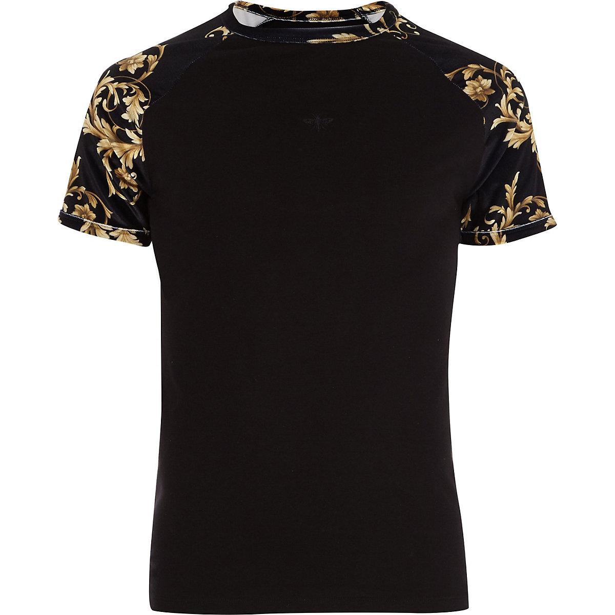 Big and Tall velour baroque raglan T-shirt